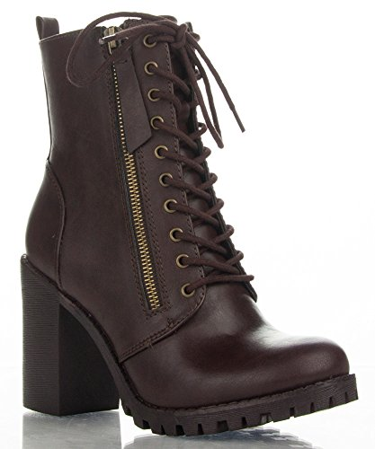 SODA Malia Vegan Round Toe Stacked Heel Ankle Booties (Brown, 11 M US)