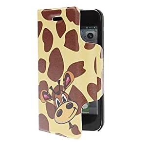 Fanny Cartoon Donkey with Leopard Print Backgroud Matte PU Full Body Case with Card Slot for iPhone 5/5S