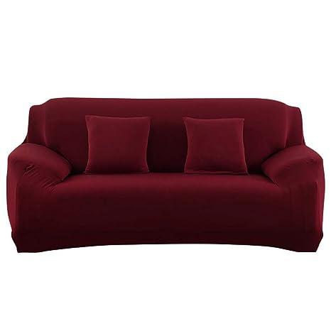 Womdee Fundas elásticas para sofás de 1/2/3 plazas, Color Puro, fácil Ajuste, Tela elástica, para sofá de 3 plazas, sofá de Dos plazas y sillón
