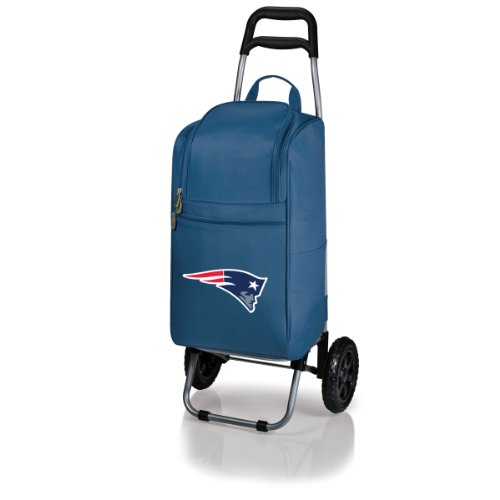 PICNIC TIME NFL New England Patriots Insulated Cart Cooler with Wheeled Trolley, Navy Microfiber Two Pocket Tote