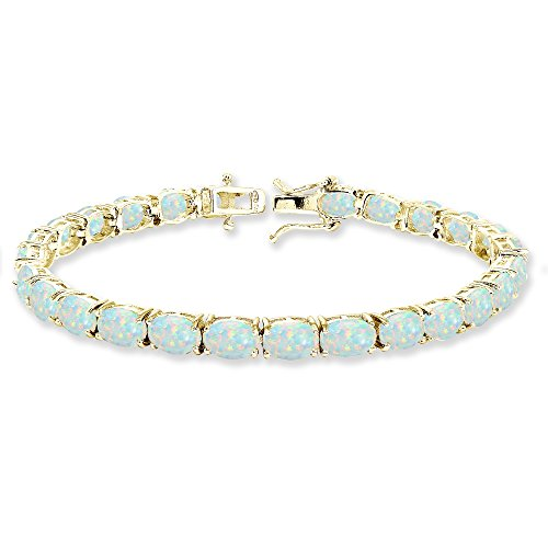 Yellow Gold Flashed Sterling Silver 7x5mm Simulated White Opal Oval-cut Classic Tennis Bracelet