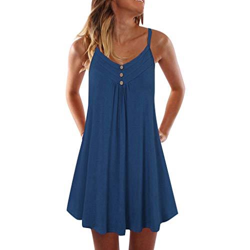 Sttech1 Women's Sleeveless Plain Button Mini Dress Spaghetti Strap Double Breasted Dress