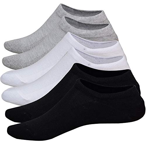 No Show Socks Women 3 Pairs Womens Cotton Low Cut Socks Non-Slip Grips Casual Low Cut Boat Sock Size 6-11 ()