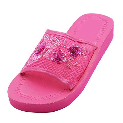 LAVRA Women's Chinese Sequin Mesh Slipper Open Toe Platform Chinese Slippers 9 B(M) US Fuchsia Pink