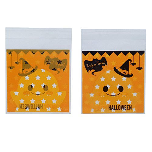 Yunko 100pcs Happy Halloween Ghost Star Cookie Packaging Self-adhesive Plastic Bags for Biscuits Package Cz007