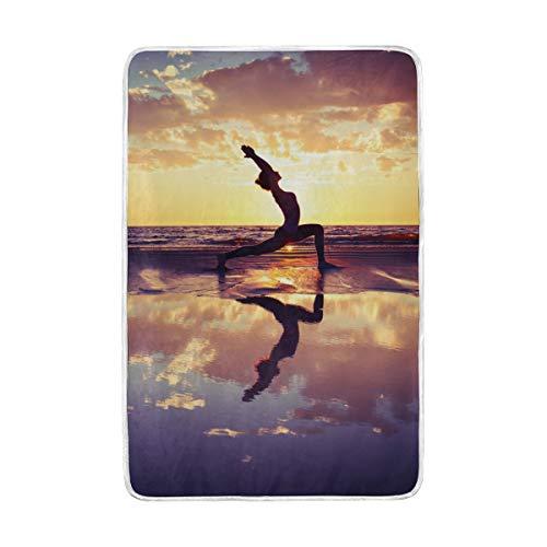 CPYang Sunset plage Yoga Couvre-lit Doux et Chaud en Microfibre Lit canapé couvertures pour Adulte Filles garçons Enfants 152 x 229 cm