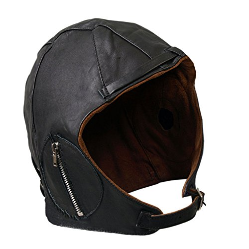 Aviator Black Leather Motorcycle Helmet Cap Vintage WWII Hat L/XL