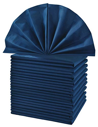 New Blue Cotton Napkins - CIELTOWN Cotton Cloth Dinner Napkins 1 Dozen (Navy Blue, 20
