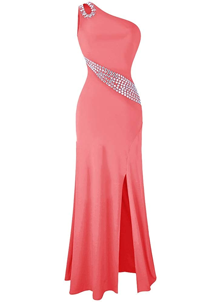Coral MorySong Women's One Shoulder Beading Prom Dress Sexy Side Split Evening Dress