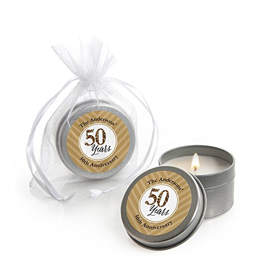 Big Dot of Happiness Custom We Still Do - 50th Wedding Anniversary - Personalized Candle Tin Anniversary Party Favors - Set of 12 ()