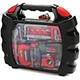 TOOL SET Realistic with Drill and 18 Black & Red Pretend Play Construction Tools, Comes