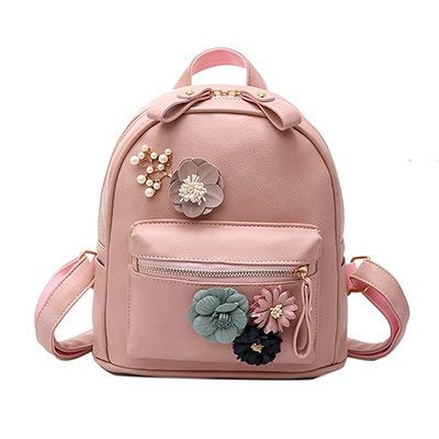 9e2eb67764 Image Unavailable. Image not available for. Color  2018 Small Flower Women  Backpack for Teenage Girls PU Leather Beading School Bags Backpacks Cute  Fashion