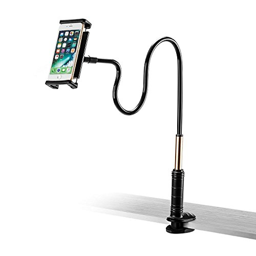 Foraco iPad Holder, Adjustable Metal Gooseneck Desk Mount/Bed Stand with Lazy Arm for 4-14 Inches Tablets and Smartphones (iPhone, Kindle, Fire Tablets etc.) by Foraco (Image #2)