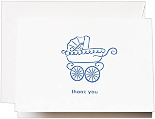 product image for Crane & Co. Letterpress Blue Pram Thank You Note (CT1401)