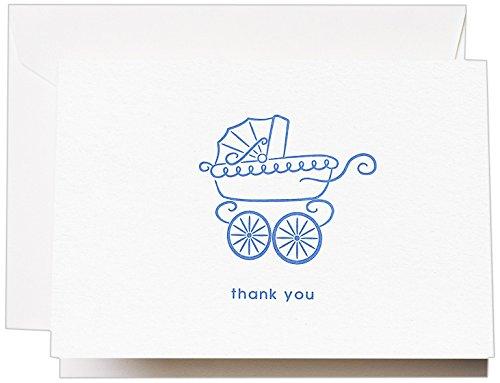 Crane & Co. Letterpress Blue Pram Thank You Note (CT1401)