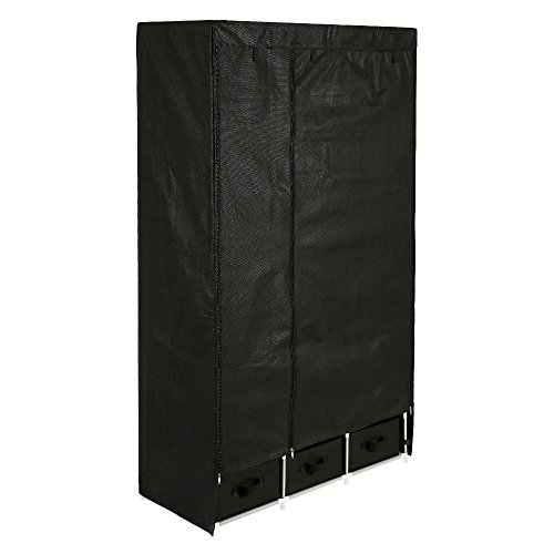HOME BI Portable Clothes Closet Wardrobe, Non-woven Fabric Clothes Closet Storage for Clothes for Clothes with 3 Drawers, Large Space, Easy to Assemble, 41.34L x 17.72W x 62.3H (Black)