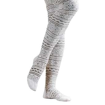 MUK LUKS� 22783 Patterned Microfiber Tights Ivory, Grey Medium
