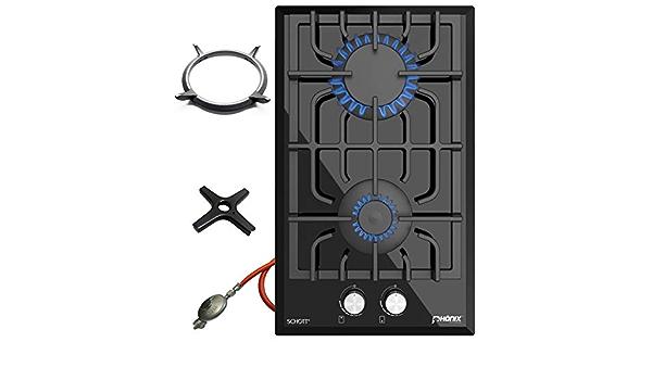 Phönix Domino-GL - Cocina de gas de cristal, 2 fuegos, incluye soporte para wok y cruz de cocina