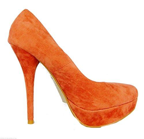 Internacionale Womens Ladies Orange Faux Suede Platform Court Shoes vLPfI