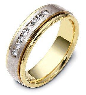 Dora Round Ring - Designer 18 Karat Two-Tone Gold Round Diamond Anniversary Ring - 9.75