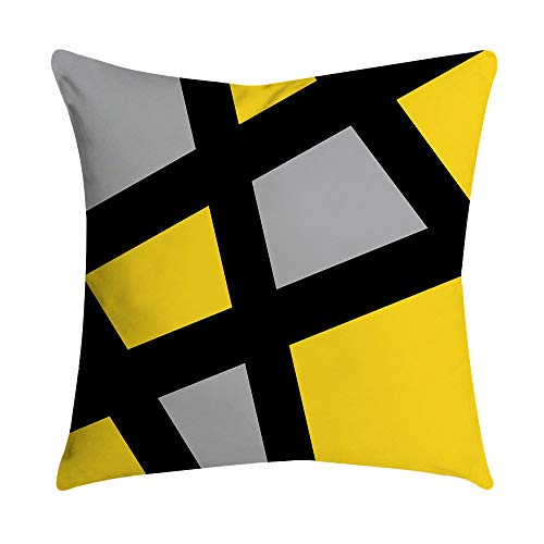 Aniyoge Yellow Stripe Plaid Series Decorative Throw Pillow Case Simple Geometric Style Soft Cushion Cover Square Pillowcase (F)