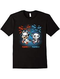 Cute Gamer Panda & Gamer Dog Player 1 & Player 2 T-Shirt
