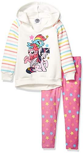 (My Little Pony Little Girls' 2 Piece Fleece Hoodie Set, Off Off White)