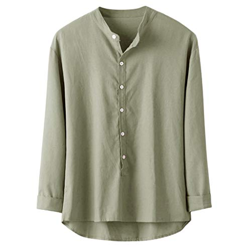 Sunhusing Men's Casual Solid Color Cotton-Blend Loose Button-Down Cotton Linen Blouse Autumn Shirt Top Tee Green (Best Boobs In The Business)