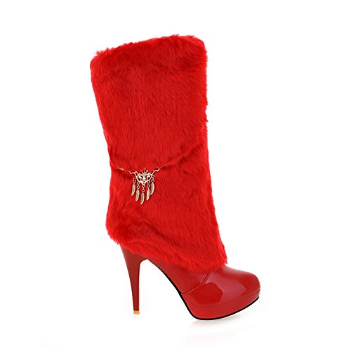 Chain BalaMasa on Collar Red Ladies Fur Metal Leather Patent Boots Pull nnqrFYEx