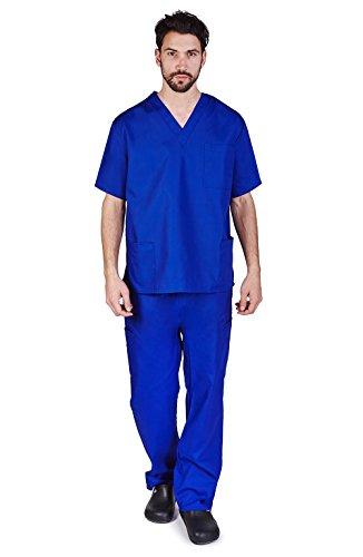 (M&M SCRUBS Men Scrub Set Medical Scrub Top and Pants L True Royal Blue)