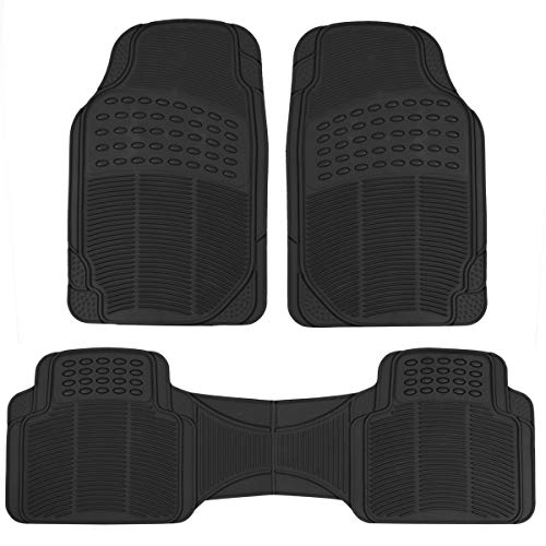 - BDK MT783PLUS ProLiner Original 3pc Heavy-Duty Front & Rear Rubber Floor Mats for Car SUV Van & Truck - All Weather Protection Universal Fit (Black)