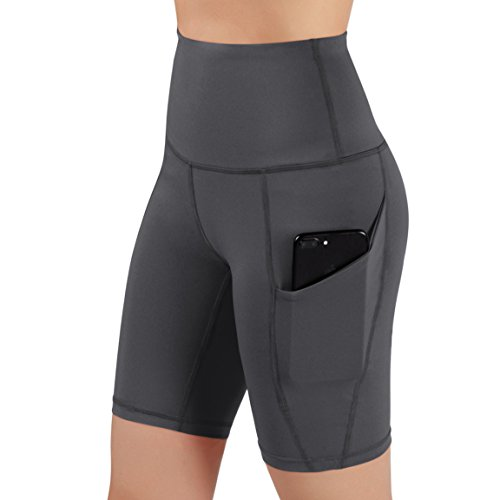 ODODOS High Waist Out Pocket Yoga Shots Tummy Control Workout Running 4 Way Stretch Yoga Shots, Gray, X-Large by ODODOS (Image #4)
