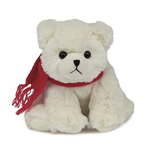 Bearington Frosty Plush Stuffed Animal Polar Bear with Scarf, 6 inches