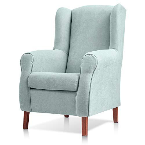 Sillon orejero CARLA (Sillon lactancia)Sillón tapizado antimanchas acualine color Verde Agua. Sillon butaca para dormitorio, salon o habitacion de ...