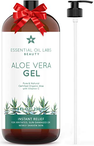 (Aloe Vera Gel, 8 oz, Organic, Pure and Natural - Instant Hydrating Relief For Irritated Skin by Essential Oil Labs)