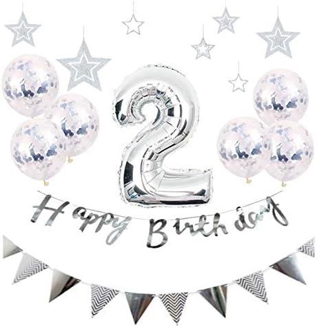 2歳 誕生日 風船 HAPPY BIRTHDAY お子様誕生日パーティー 豪華 誕生日 飾り付け セット シルバー(hw-ys02)