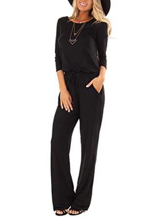 f647982a2ef Amazon.com  REORIA Women 3 4 Sleeve Casual Loose Wide Leg Pants Romper  Jumpsuits  Clothing