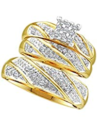 14k Yellow Gold Mens and Ladies Couple His & Hers Trio 3 Three Ring Bridal Matching Engagement Wedding Ring Band Set - Round Diamonds - Princess Shape Center Setting (1/4 cttw) - Please use drop down menu to select your desired ring sizes