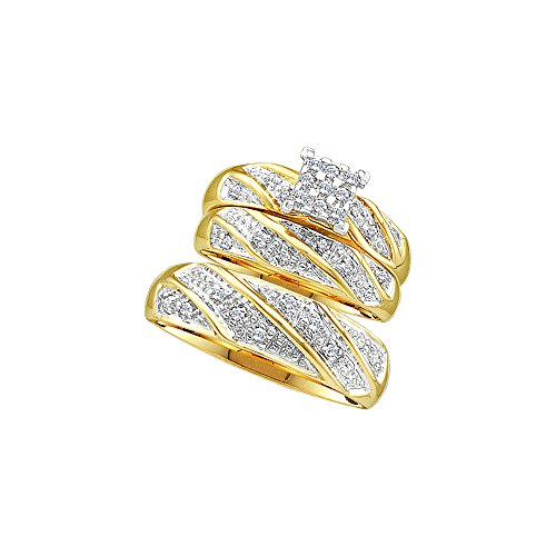 Sizes - L = 5, M = 10.5 - 14k Yellow Gold Mens and Ladies Couple His & Hers Trio 3 Three Ring Bridal Matching Engagement Wedding Ring Band Set - Round Diamonds - Princess Shape Center Setting (1/4 cttw) - Please use drop down menu to select your desired ring sizes