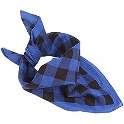 Ecurson Women Men Plaid Bandanas Head Wrap Turban Hair Accessories Headband (Blue)