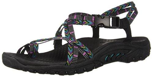 Skechers Women's Reggae-Islander-Multi-Strap Toe Thong Slingback Sandal, Black/Multi, 9 M US