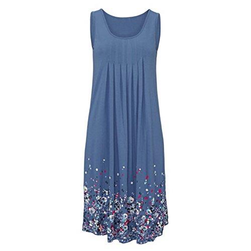 Minetom Las Mujeres Verano Sin Mangas Corta Dress Vestido Playa Corto Cuello Redondo Hasta La Rodilla Falda Floral Alinear Azul