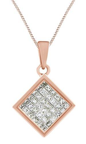 Princess Cut White Natural Diamond Square Pendant Necklace In 14k Rose Gold