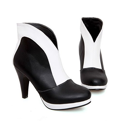 PU Assorted Round Closed High Heels Color Allhqfashion Toe on Women's Boots Pull White 5q8nAwwtx