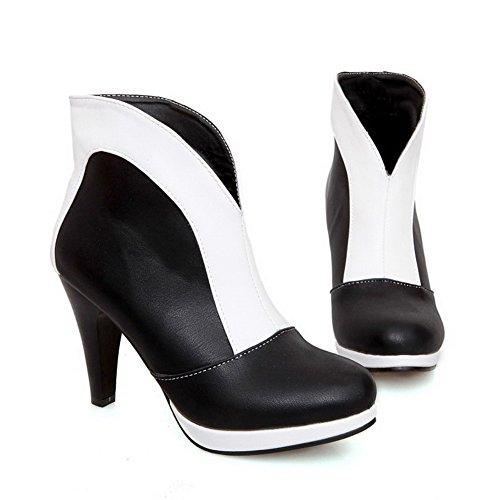 Allhqfashion Womens Assortiment Kleur Pu Hoge Hakken Aantrek Ronde Gesloten Teen Laarzen Wit