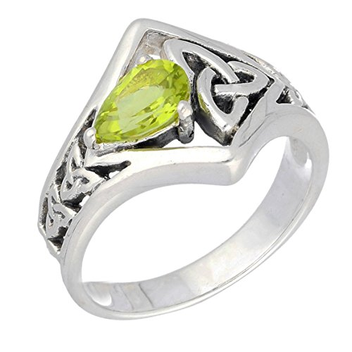 Celtic Knot Green Teardrop Genuine Peridot Sterling Silver Ring Size 7(Sizes 5,6,7,8,9,10,11,12) (Peridot Knot Celtic)