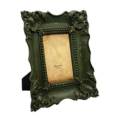 (Simon's Shop 4x6 Picture Frame Baroque Picture Frames 4x6 Shabby Chic Photo Frames in Moss Green)