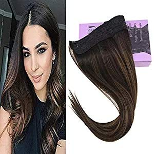 y Hidden Crown Hair Extensions Color #2 Darkest Brown Fading to #6 Medium Brown Mix #2 Brown Wire Hair Extensions Human Hair 11