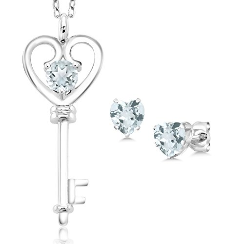 Gem Stone King 1.16 Ct Round Sky Blue Aquamarine 925 Sterling Silver Key Pendant Earrings Set