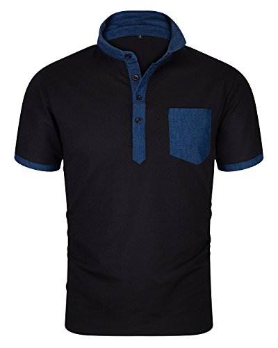 Men's Casual Short Sleeve Fitted Polo T Shirt Stylish Collared Solid Golf Tee Black B Size -